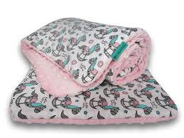 nursery bedding set rocking horses pink minky 02