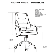 1300x1300 techni mobili comfy height adjule rolling office chair with