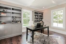 gray built ins chic home office white