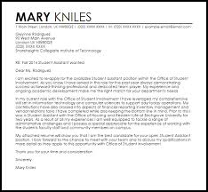 cover letter student student assistant cover letter sample livecareer