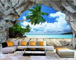 Beibehang Custom Behang Muur Cave Stone Muur Strand Zee View Stereo