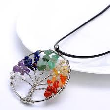 details about tree of life pendant necklace round heart chakra healing stone rainbow gemstone