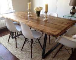 rustic dining table and chairs. Vintage Industrial Rustic Reclaimed Plank Top Dining Table With Triangle Steel Base (Handmade UK) And Chairs
