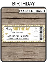 Printable Concert Ticket Template Amazing Concert Ticket Birthday Gift Template Printable Concert Gift Voucher
