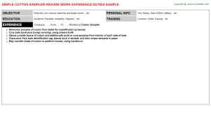 Work Experience Resume Sample Awesome Cotton Sampler Resume Resumes Templates JobDescriptionsAndDuties