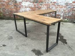 homemade office desk. industrial style reclaimed ldesk steel and wood vintage steampunk rustic homemade office desk