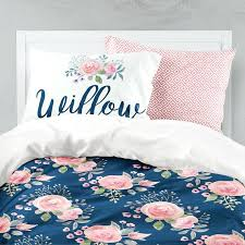 navy fl comforter duvet cover twin bedding set girls room queen king and c flowers toddler teen name pillow blue white