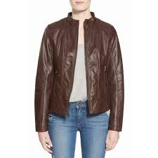 women s faux leather scuba jacket in brown