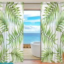 Sheer Voile Fenster Vorhang Tropical Floral Blätter Muster Bedruckt
