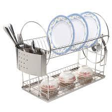 Space Saving Dish Rack Amazing Grey Chrome 2 Tier Dish Drainer Stainless Steel Flatware