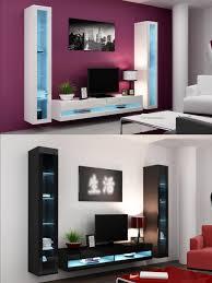 high gloss living room set with led lights tv stand wall