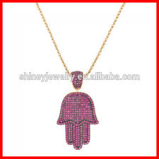 iced out hip hop jewelry micro pave ruby pink cubic zirconia big hamsa hand pendant necklace