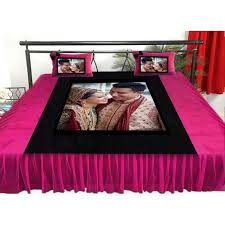 Buy or Send Personalized velvet bed sheet with pillow set Pink