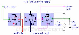 car security and convenience, power door locks, multiple wire Autoloc Wiring Diagram add auto lock w o alarm relay diagram autoloc door popper wiring diagram