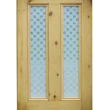 fleur etched glass door