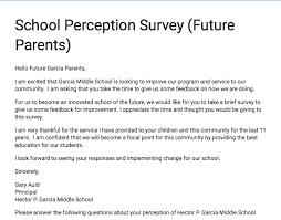School Survey Questions For Parents Parent Survey For Future Garcia Parents