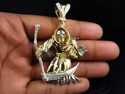 new sterling silver grim reaper real diamond pendant charm yellow gold finish