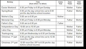 examples of custody agreements georgia custody and visitation schedule guidelines ga