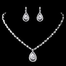 full set teardrop pendant. Pearl And CZ Teardrop Pendant Necklace Wedding Jewelry Set Full A