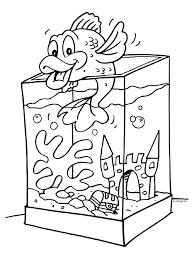 Kleurplaat Vis In Aquarium Kleurplatennl