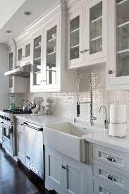 white kitchen subway backsplash ideas. All White Kitchen With Mini Subway Tile Backsplash Ideas O