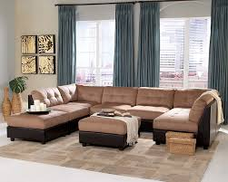 cst551001 6 pc claude collection two tone modular sectional sofa with buff brown microfiber and dark