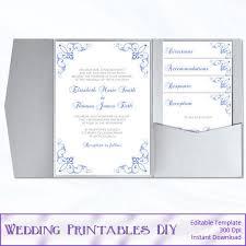 Foldable Invitation Template Pocket Wedding Invitation Template Set By Weddingprintablesdiy