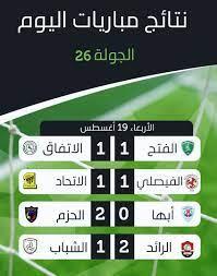 نتائج مباريات اليوم في الدوري ... أي... - الدوري السعودي لايف