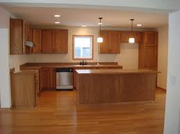 Interior Simple And Nice Kitchen Decoration With L Shaped Brown