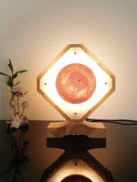 Wooden Table Lamp Of Solid Redwood Pine Geometric Bedside Led Etsy