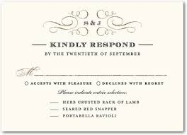 Response Cards For Weddings Wedding Invitation Acceptance Wording Sit Down Plated Dinner Rsvp