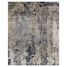 tisa modern classic canyon navy grey marbled rug 5 6x8 6 kathy kuo home