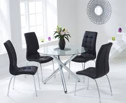 mark harris odessa glass round dining set with 2 california black chairs 100cm