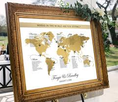 Map Seating Chart Wedding World Map Seating Chart Plane Travel Theme Gold Wedding Or Party Printable Gold World Map Personalized Wedding Seating Chart Digital
