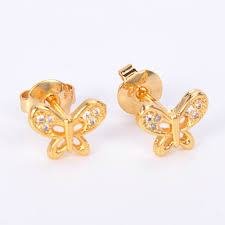 Design Of Ear Ring 2017 Factory Direct Wholesale Butterfly Sharp 18k Gold