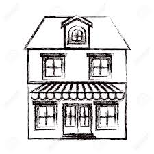 attic clipart black and white. Simple Black Monochrome Blurred Silhouette Of House With Two Floors Attic And  Awning Vector Illustration Stock Vector Throughout Attic Clipart Black And White