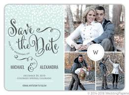 Winter White Dots Save The Date Announcement Winter Save The Date