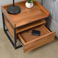 wooden bedside table. Lovie Acaia Wood Bedside Table With Metal Frame In Natural Wooden D