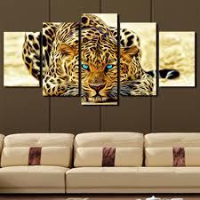 5 plane abstract leopards modern home decor wall art