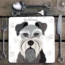 mini schnauzer personalised dog placemat/coaster by simon hart ...