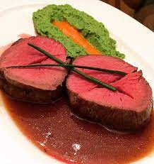 Whisk in wasabi and cook for 1 minute, remove from heat. Made Filet Mignon With Wasabi Pea Puree And Smoky Red Pepper Sauce Served It Wi Black Truffle Demi Glaze Food