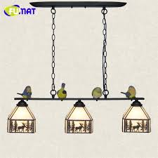 Fumat Country Style Suspension Lamp Kitchen Dinning Room Pendant Lamp  Tiffany Stained Glass Iron Lamp Birds