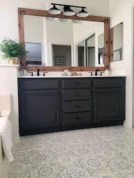 diy refinishing bathroom vanity. diy painted tile! update your bathroom floor with a stencil. makeover tutorial diy refinishing vanity d