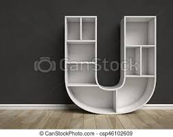 letter u shaped shelves
