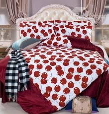 bright red cherry print 4 piece c fleece duvet cover sets