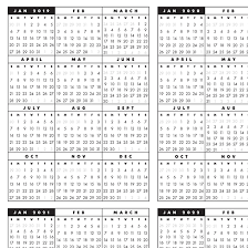 2020 Year At A Glance Calendar Template 2019 2022 At A Glance One Page Printable Calendar C B