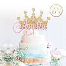 Custom Crown Cake Topper Glitter Topper Crown Cake Personalised Age