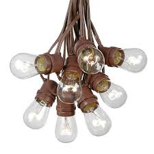 picture of 25 clear s14 commercial grade light string set on 37 5 of brown wire