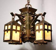 arts crafts lighting fixtures unusual antique arts crafts chandelier with monks heads and decorations vintage arts arts crafts lighting