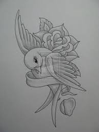 rose and ribbon tattoo designs. Pencil Drawing Swallow With Rose And Ribbon Tattoos Flower New Throughout Tattoo Designs